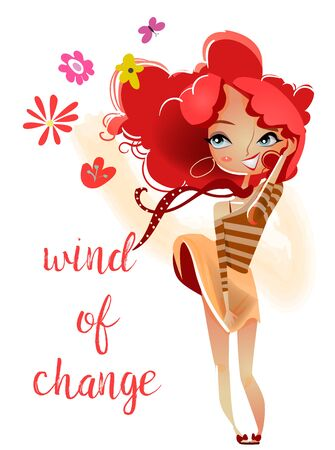 hair colors: cartoon girl with red hairs Illustration