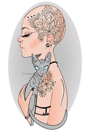 bold girl with tattoo with bold cat Ilustração