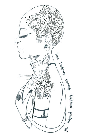 bold girl with tattoo with bold cat Stock Illustratie