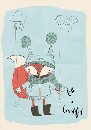 cute little doodle fox in warm clothes Imagens - 59739937