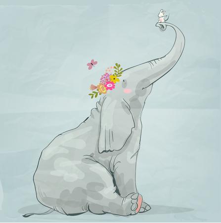 작은 흰색 마우스로 귀여운 만화 코끼리