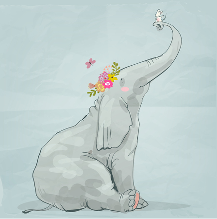 cute cartoon elephant with little white mouse