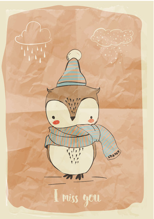 cute little doodle owl in warm clothes
