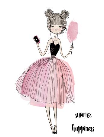 cute cartoon meisje met een smartphone en hoofdtelefoons