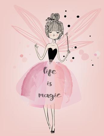 핑크색 날개를 가진 귀여운 만화 대주원 소녀