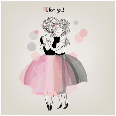 아름다운 드레스를 입고 귀여운 만화 소녀 포옹