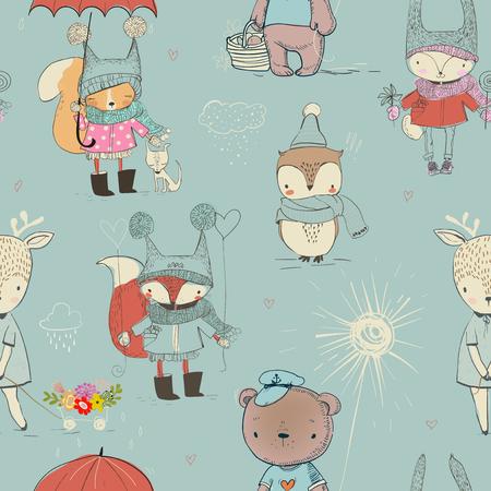 naadloze patroon met schattige kleine doodle dieren