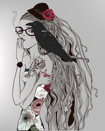 tattoo girl: Hand drawn beautiful portriat of the girl with a black bird Illustration