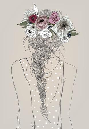 cute cartoon meisje met vlecht en bloemen