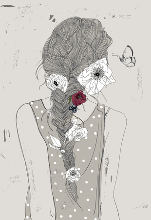 woman back: cute cartoon girl with braid and flowers