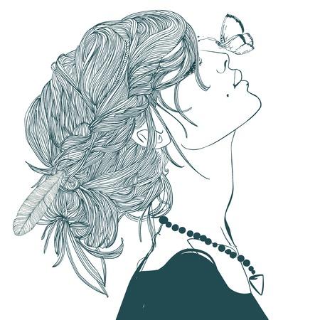 나비와 함께 아름다운 젊은 여성의 프로필