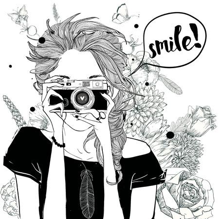 leuk manier meisje in schetsmatige stijl met camera
