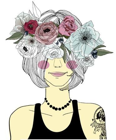 Cute cartoon meisje met vlecht en bloemen Stockfoto - 59819261