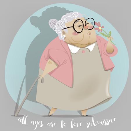 pensionado: Viejo personaje de dibujos animados mujer. abuela feliz con el palillo y la flor. abuelos felices cartel del día. Vectores