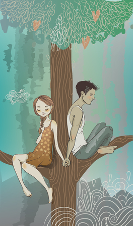 dating: Embraces of a loving couple on the tree