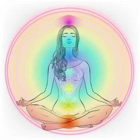 reiki: Beautiful Caucasian Girl with long hair sitting in Lotus pose Vector illustration.