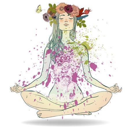 Hermosa chica con la corona de flores sentado en posición de loto Ilustración de vector