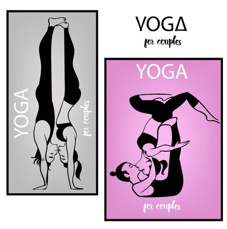 tantra: yoga kissing young couple - vector illustration
