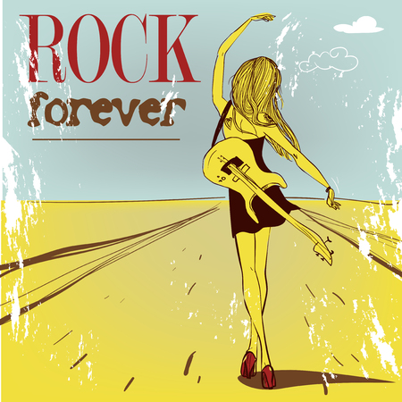 vacance: cute rock girl with guitar. vector illustration