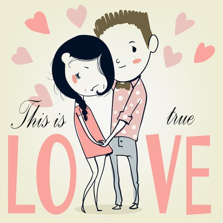 honey moon: valentines card with cartoon boy and girl. vector illustration. Illustration