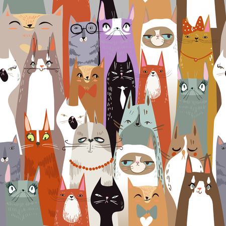 Funny cute cartoon cats seamless pattern. vector illustration