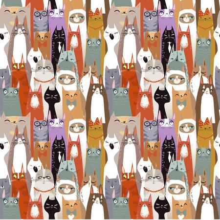 chats mignons de bande dessinée drôle de seamless pattern. illustration vectorielle