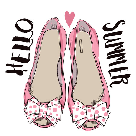 heel: female pink shoes with bows. vector illustration