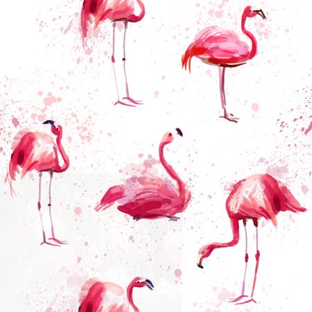 핑크 수채화 플라밍고와 원활한 수채화 패턴 스톡 콘텐츠