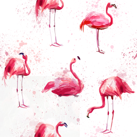 Seamless watercolor pattern with pink watercolor flamingos