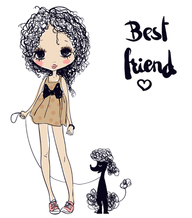 young girl: cute summer young cartoon girl with poodle