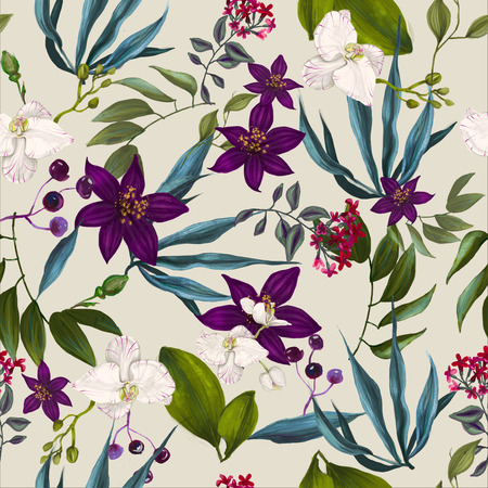 tropical seamless exotic floral fashion pattern -seamless wallpaper Stock Photo