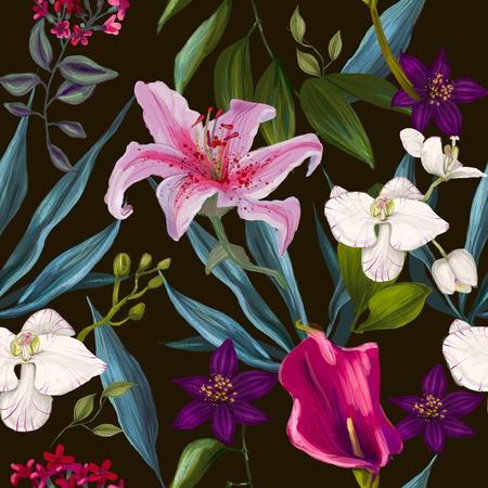 Tropical egzotycznych kwiatów bezszwowe wzór mody -seamless tapety Zdjęcie Seryjne