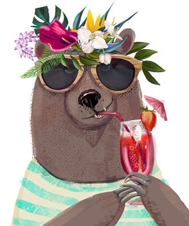 cute summer bear with floral wreath and cocktail