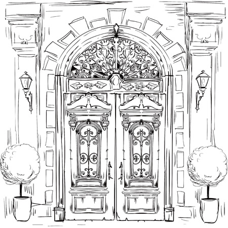 illustration with sketch of old doors - vector illustration Vektoros illusztráció