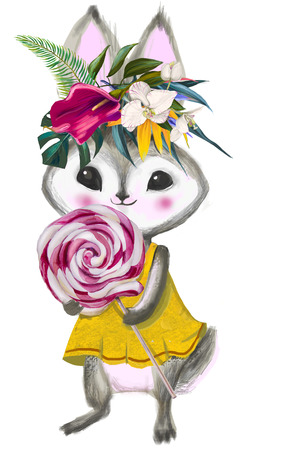 cute summer hare with sweet bonbon and floral wreath