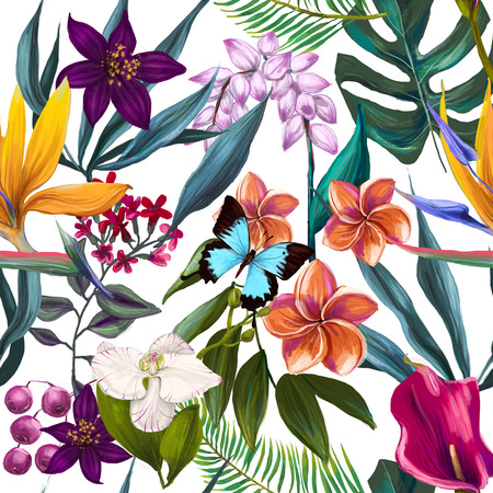 tropical seamless exotic floral fashion pattern -seamless wallpaper 스톡 콘텐츠