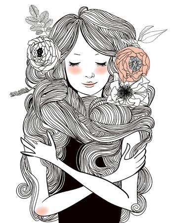 花および長い毛の若い美しい女性の肖像画