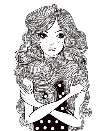 portrait de la belle jeune femme avec des fleurs et des poils longs