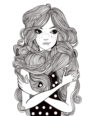 portrait of young beautiful woman with flowers and long hairs Illustration