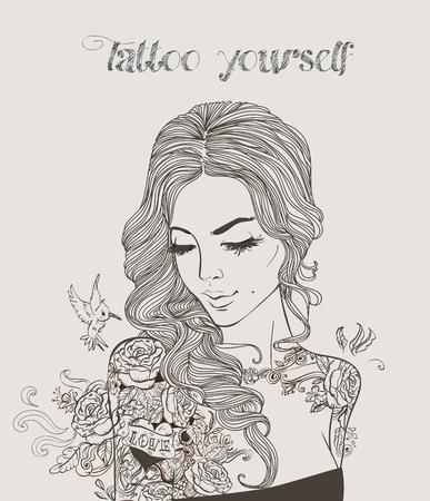 タトゥーの若い美しい女性。  イラスト・ベクター素材