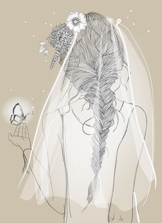 wedding dress back: cute bride with a veil and braid and flowers