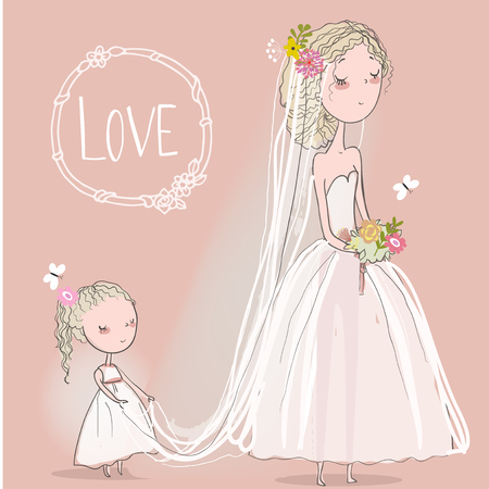 cute bride with a little girl. vector illustration Illustration