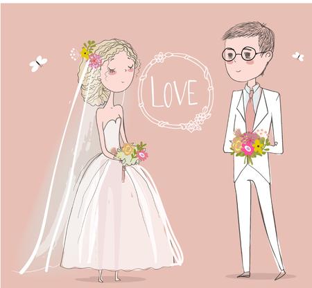 wedding bride: cute bride with cute groom. vector illustration