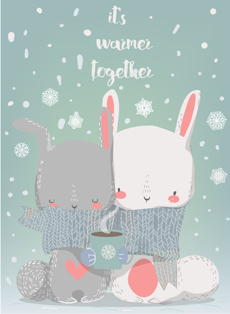 hares: cute hares with scarf and coffee cup Illustration