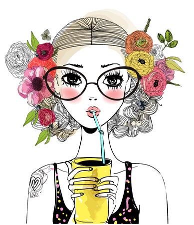 portrait of cute cool girl with floral wreath and drink Vectores