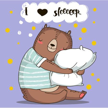 duvet: cute cartoon bear with pillow. vector illustration Illustration