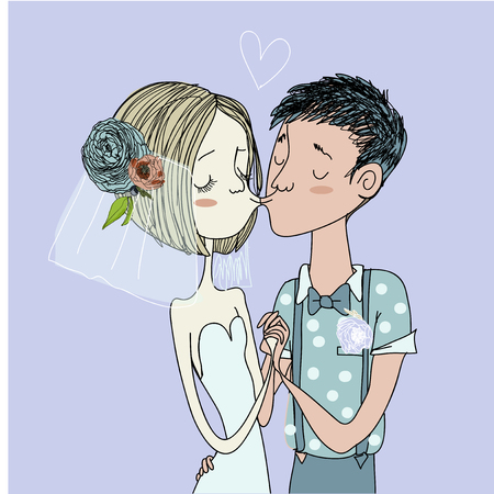 Greeting card for wedding. The bride and groom Illustration