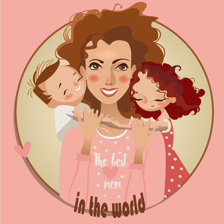 babysit: mother and kids. the postcard for the mothers day