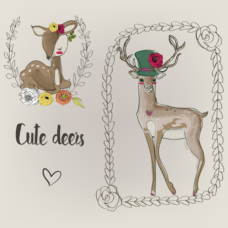 cervidae: two cute deers with doodle frames and flowers Illustration