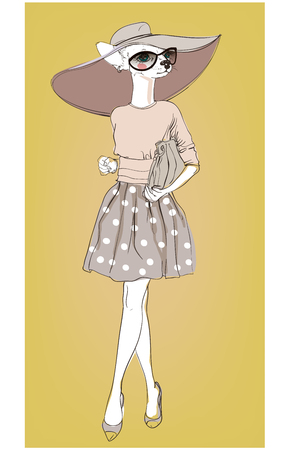 autumn woman: cute fashion hipster dog with bag. vector illustration
